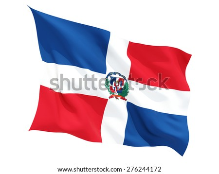 Waving flag of dominican republic isolated on white