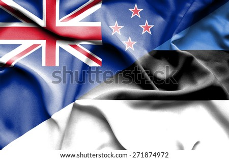 Waving flag of Estonia and New Zealand