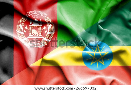 Waving flag of Ethiopia and Afghanistan - stock photo