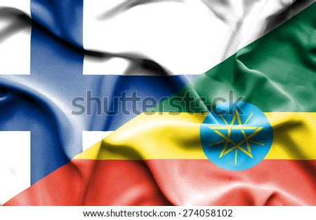 Waving flag of Ethiopia and Finland - stock photo