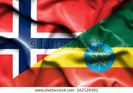 Waving flag of Ethiopia and Norway - stock photo