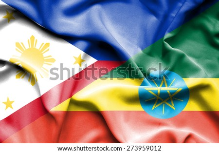Waving flag of Ethiopia and Philippines - stock photo