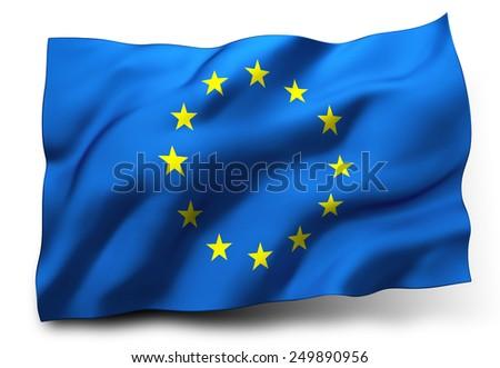 Waving flag of Europe isolated on white background - stock photo