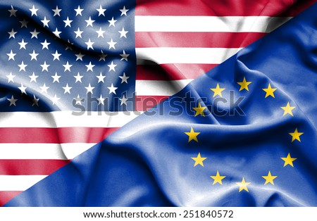 Waving flag of European Union and USA - stock photo