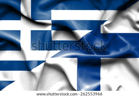 Waving flag of Finland and Greece