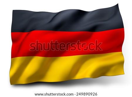 Waving flag of Germany isolated on white background - stock photo