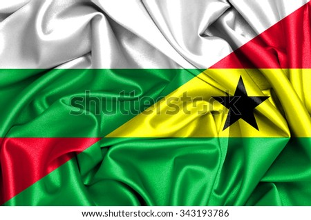 Waving flag of Ghana and Bulgaria  - stock photo