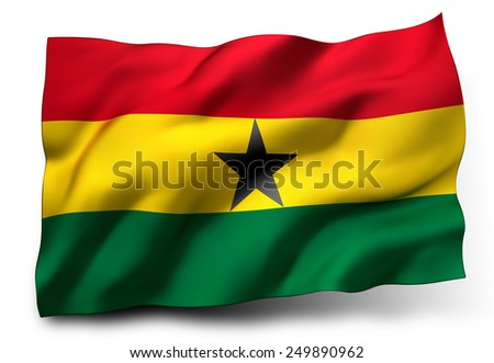 Waving flag of Ghana isolated on white background - stock photo