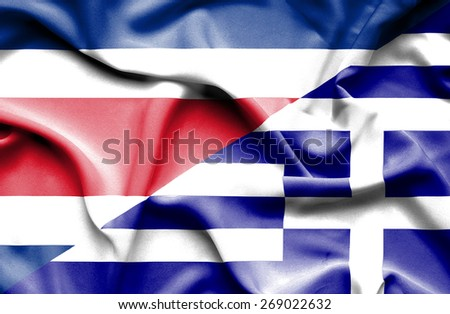 Waving flag of Greece and Costa Rica