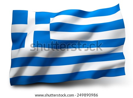 Waving flag of Greece isolated on white background - stock photo