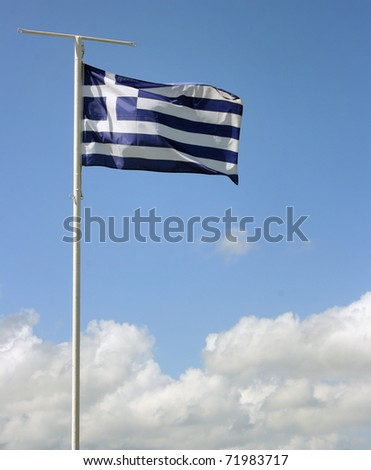 Waving flag of Greece with blue sky like background