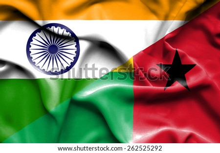 Waving flag of Guinea Bissau and India