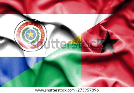Waving flag of Guinea Bissau and Paraguay