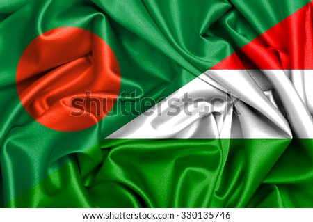 Waving flag of Hungary and Bangladesh