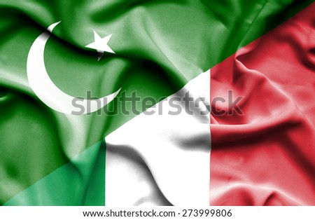 Waving flag of Italy and Pakistan