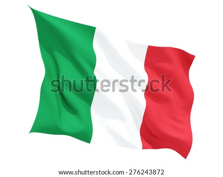 Waving flag of italy isolated on white - stock photo