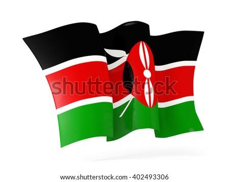 Waving flag of kenya isolated on white. 3D illustration - stock photo