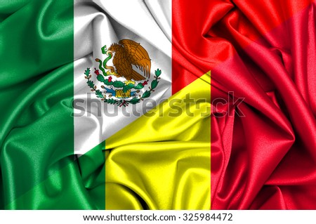 Waving flag of Mali and Mexico