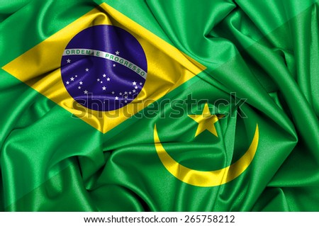 Waving flag of Mauritania and Brazil