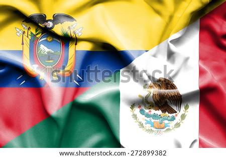 Waving flag of Mexico and Ecuador - stock photo