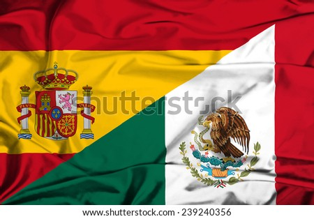 Waving flag of Mexico and Spain - stock photo