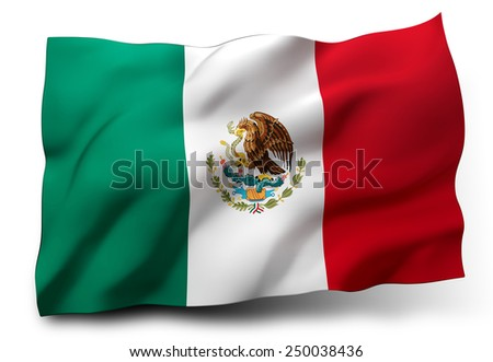 Waving flag of Mexico isolated on white background - stock photo