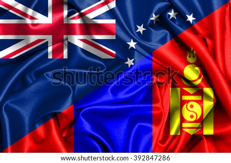 Waving flag of Mongolia and Cook Islands