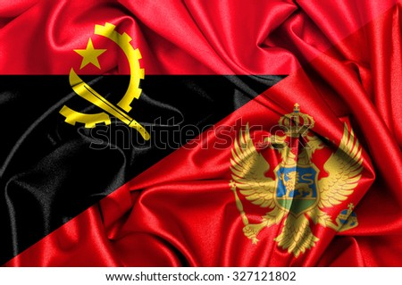 Waving flag of Montenegro and Angola