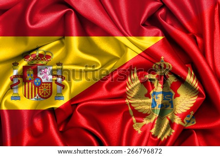 Waving flag of Montenegro and Spain - stock photo