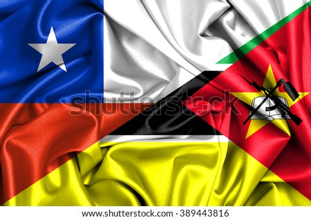 Waving flag of Mozambique and Chile