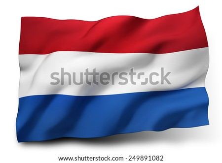 Waving flag of Netherlands isolated on white background - stock photo