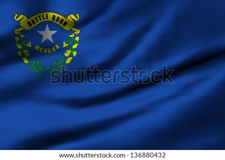 Waving flag of Nevada. Design 1. - stock photo