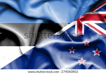 Waving flag of New Zealand and Estonia