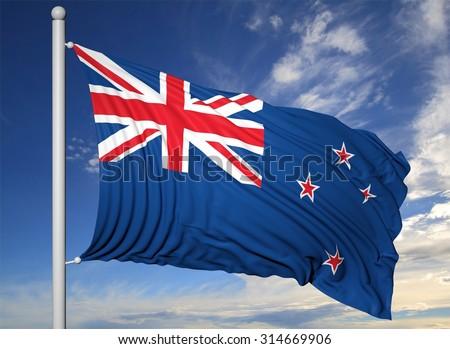 Waving flag of New Zealand on flagpole, on blue sky background. - stock photo