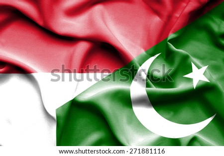 Waving flag of Pakistan and Monaco