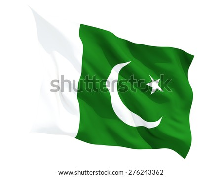 Waving flag of pakistan isolated on white - stock photo