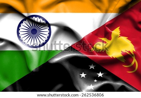 Waving flag of Papua New Guinea and India