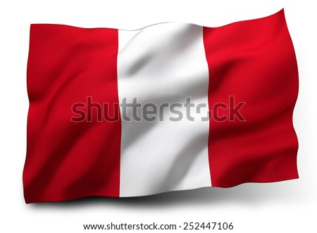 Waving flag of Peru isolated on white background - stock photo