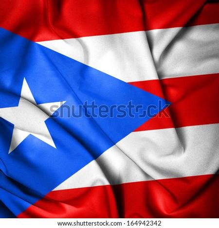 Waving Flag of Puerto Rico - stock photo