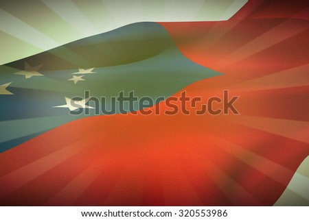 Waving flag of Samoa against linear background - stock photo