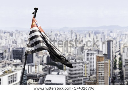 Waving flag of Sao Paulo, Brazil - stock photo