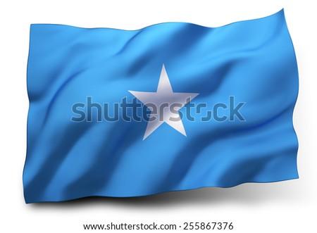 Waving flag of Somalia isolated on white background - stock photo