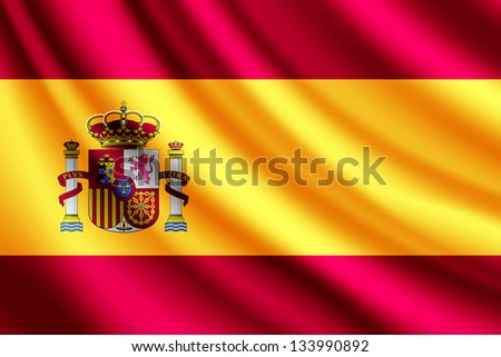 Waving flag of Spain - stock photo
