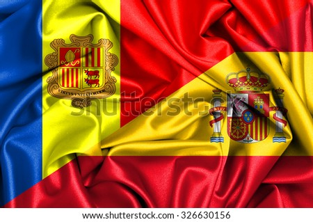 Waving flag of Spain and Andora