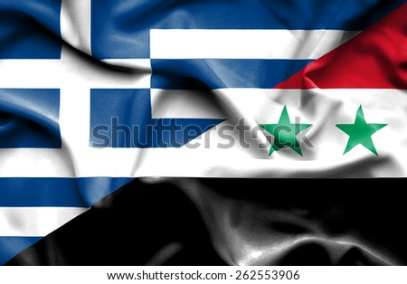 Waving flag of Syria and Greece - stock photo