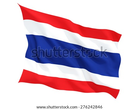 Waving flag of thailand isolated on white