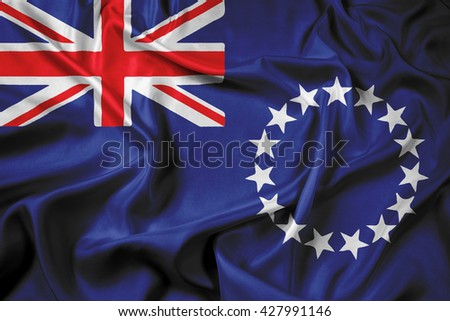Waving Flag of the Cook Islands