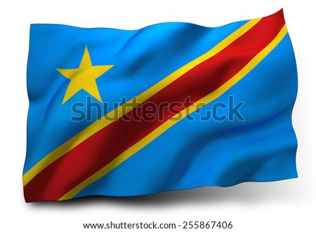 Waving flag of the Democratic Republic of the Congo isolated on white background