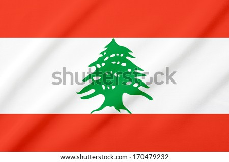 Waving flag of the Lebanon