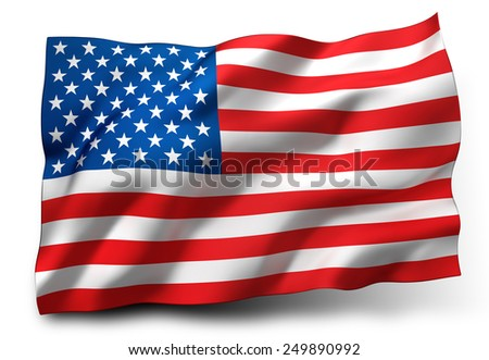 Waving flag of the United States isolated on white background - stock photo